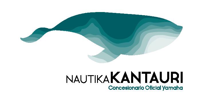 Logotipo con la ballena de color verde de Nautika Kantauri junto con la tipografia